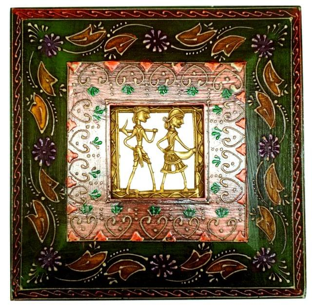 Purpledip Brass Wall Hanging 'Always Together': Dokra Craft Tribal Art Plaque in Hand-painted Wooden Frame (11656)