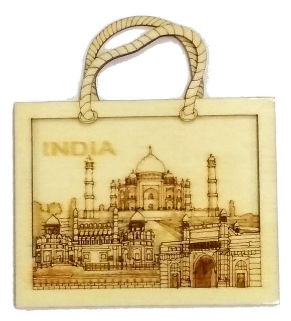 Purpledip Wooden Fridge Magnet: Taj Mahal, Indian Souvenir Gift (11666)