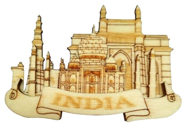 Purpledip Wooden Fridge Magnet: Indian Heritage (Taj Mahal,  Gateway Of India, & Qutub Minar) (11667)