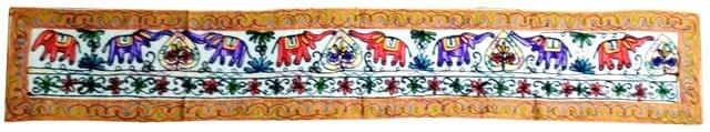 Purpledip Cotton Tapestry 'Trumpeting Elephants': Vintage Embroidery Table Runner or Wall Hanging (11674)
