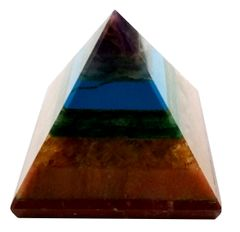 Purpledip Seven Chakra Natural Pyramid: Energy Field Of Amethyst, Lapis Lazuli, Green Aventurine, Camel Color Agate, Jasper Red, Red Cornelion & Copper (11677)