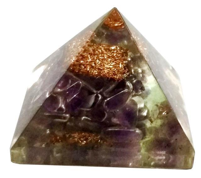 Purpledip Amethyst Orgone Pyramid: Good Luck Healing Charm, Divine Spiritual Crystal Stone (11680)
