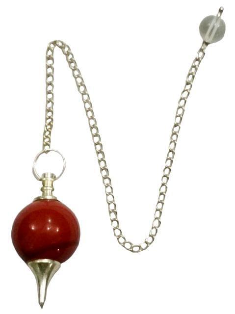 Purpledip Red Jasper Ball Pendulum: Reiki Healing Dowsing Divination Crystal Stones Pendant (11683)