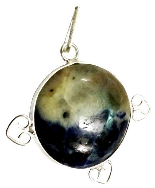 Purpledip Sodalite Round Pendant: Reki Energized Good Luck Charm (11684)