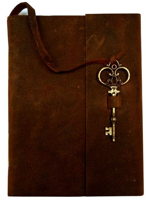 Purpledip Leather Diary 'Key To Happiness': Handmade Paper Journal for Corporate Gift or Personal Memoir (11685)