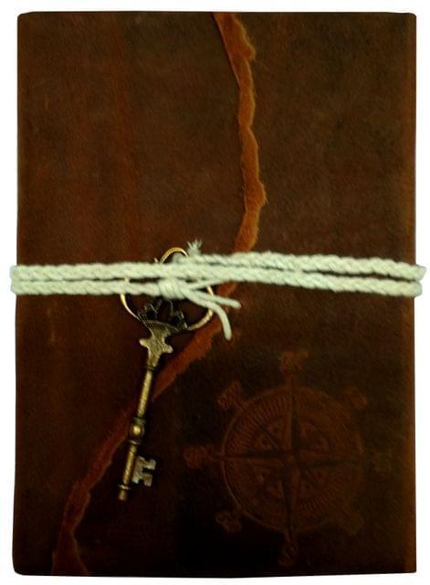 Purpledip Leather Diary 'Explorer's Key': Handmade Paper Journal for Corporate Gift or Personal Memoir (11688)