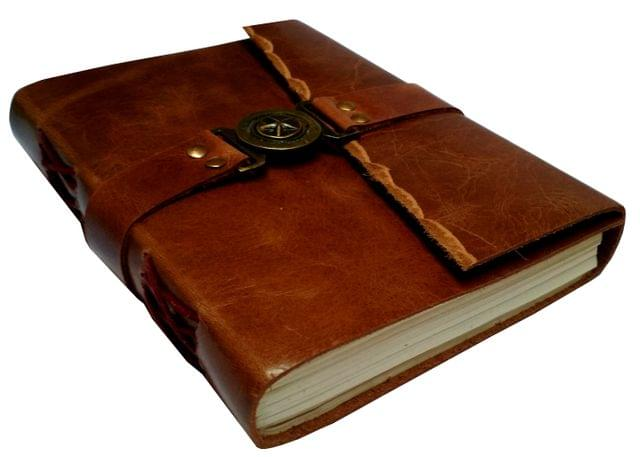 Purpledip Leather Diary 'Lucky Star': Handmade Paper Journal for Corporate Gift or Personal Memoir (11690)