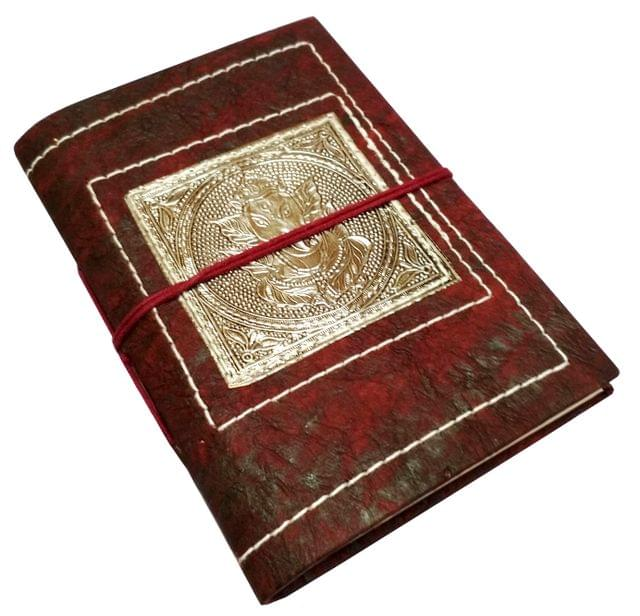 Handmade Journal (Vintage Diary) 'Lord Ganesha': Handmade Paper Notebook; Unique Gift for Personal Memoir (11700)