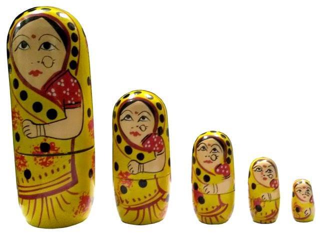 Purpledip Wooden Nesting Dolls (Indian Folk Woman): Hand Painted Russian Matryoshka Stacking Dolls Set of 5 (11702)