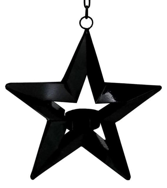 Purpledip Iron Hanging Star T-light Candle Holder: Celebration Lights Festive Diya Lamp (11705)