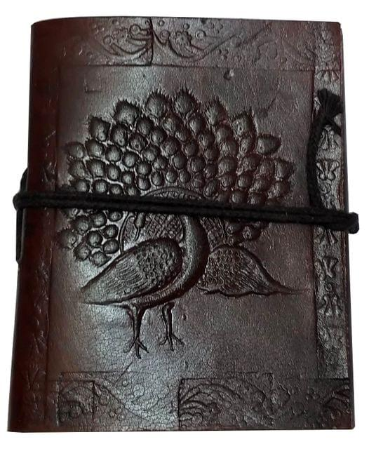 Purpledip Leather Diary 'Proud Peacock': Handmade Paper Travel Journal Pocket Notebook (11707)