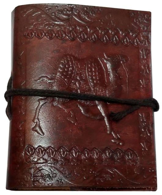 Purpledip Leather Diary 'Cocky Camel': Handmade Paper Travel Journal Pocket Notebook (11708)