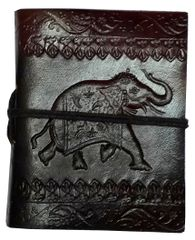 Purpledip Leather Diary 'Elegant Elephant': Handmade Paper Travel Journal Pocket Notebook (11709)