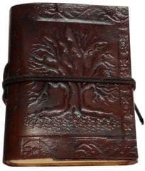 Purpledip Leather Diary 'Tree Of Life': Handmade Paper Travel Journal Pocket Notebook (11710)