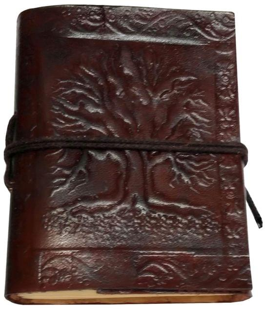 Purpledip Leather Diary 'Tree Of Life': Handmade Paper Travel Journal Pocket Notebook (11710)