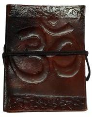 Purpledip Leather Diary 'Sacred Om': Handmade Paper Travel Journal Pocket Notebook (11711)