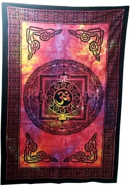Purpledip Cotton Bed Cover Wall Throw 'Sacred Om': Psychedelic Boho Print Sheet (20021)