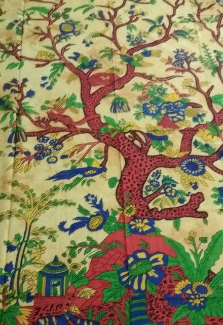 Purpledip Cotton Bed Cover Wall Throw 'Tree Of Life': Psychedelic Boho Print Sheet (20022)