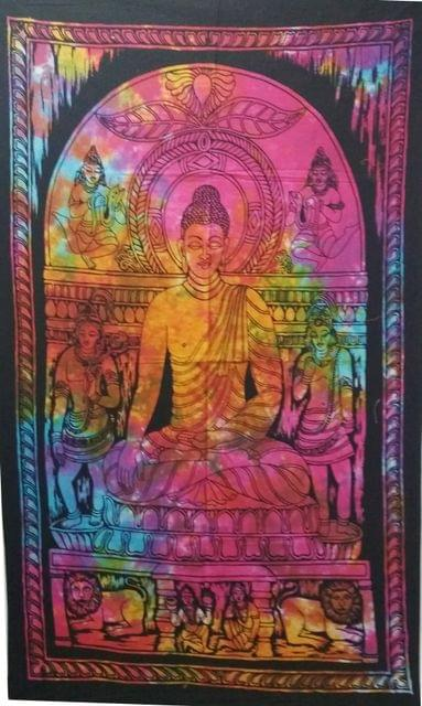 Purpledip Cotton Wall Poster Beach Throw 'Meditating Buddha': Bohemian Wall Hanging Tapestry (20024)