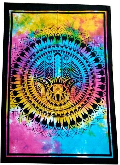 Purpledip Cotton Wall Poster Beach Throw 'Hamsa, Hand Of Fatima': Bohemian Wall Hanging Tapestry (20026)