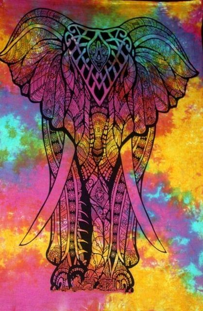 Purpledip Cotton Wall Poster Beach Throw 'Airavat, The Elephant Of Gods': Bohemian Wall Hanging Tapestry (20029)