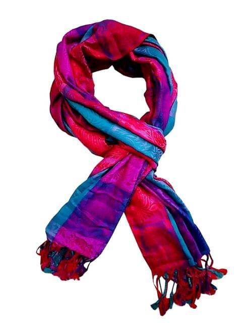 Purpledip Woolen Stole 'Paisley Pride': Jacquard Embroidered Faux Pashmina Shawl (20016)
