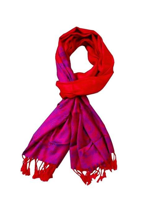 Purpledip Woolen Stole 'Indian Traditions': Jacquard Embroidered Faux Pashmina Shawl (20018)