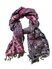 Purpledip Woolen Stole 'Elegant Paisley': Jamavar Style Faux Pashmina Shawl (20020)
