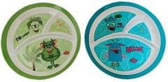 Purpledip Plastic Plates 'Hungry Monsters': Set of 2 Dinner Plates for Children; Unique Birthday Return Gift (11714a)