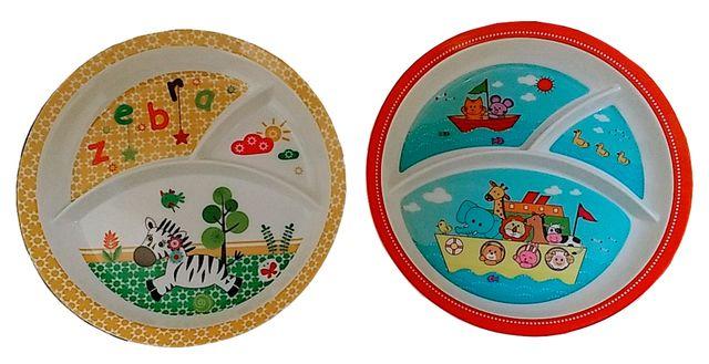 Purpledip Plastic Plates 'Playful Animals': Set of 2 Dinner Plates for Children; Unique Birthday Return Gift (10714b)