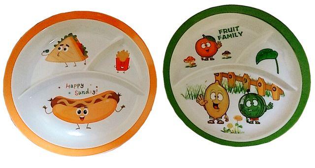 Purpledip Plastic Plates 'Love All Food': Set of 2 Dinner Plates for Children; Unique Birthday Return Gift (10714c)