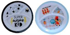 Purpledip Plastic Plates 'Magical Toyland': Set of 2 Dinner Plates for Children; Unique Birthday Return Gift (10714d)