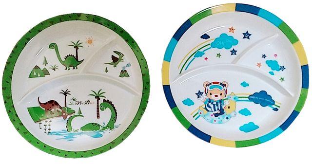 Purpledip Plastic Plates 'Wild Forest': Set of 2 Dinner Plates for Children; Unique Birthday Return Gift (10714e)