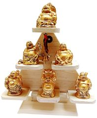 Purpledip Laughing Buddha Pyramid: Set of 6 Resin Statues for Positive Energy (11718)