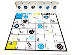 Purpledip Party Drinks Game Set 'Shooters & Ladders': 1 Playing Board, 6 Shot Glasses and 1 Dice (11721)