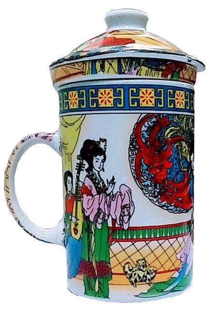Purpledip Porcelain Oriental Green Tea Mug with Infuser and Lid (11723)