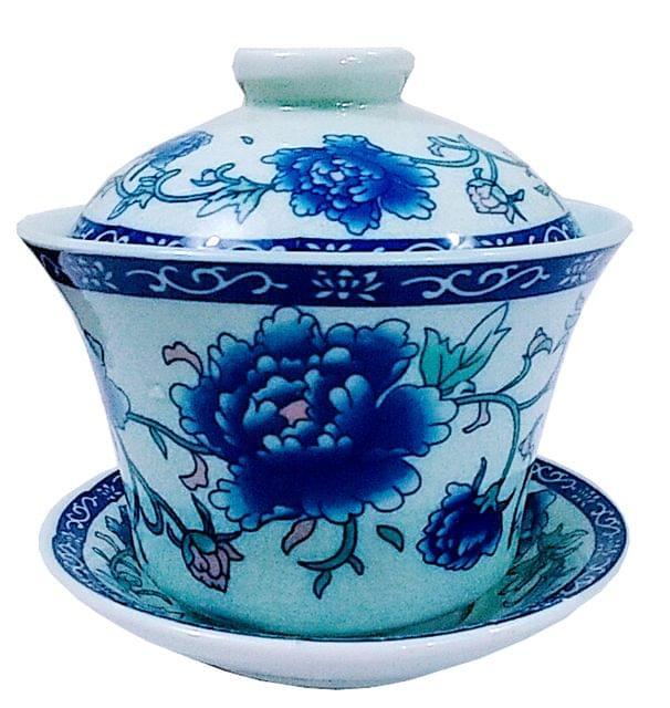 Purpledip Porcelain Oriental Tea Cup with Lid & Saucer Plate (11724)