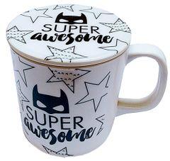 Purpledip Plastic Mug with Lid Cover 'Awesome Superhero': Cartoon Design Cup for Children (10723g)