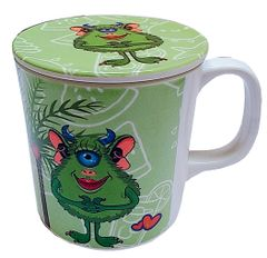 Purpledip Children's Mug With Lid Cover: For Kids In High Quality Plastic Monsters' party (10723i)
