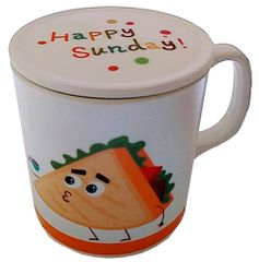 Purpledip Children's Mug With Lid Cover: For Kids In High Quality Plastic Cheese and Sandwich (10723j)