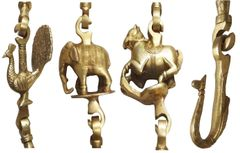 Brass Swing (Oonjal or Jhula) Chains Set: Vintage Wildlife Theme Fixtures for Indoor or Outdoor Swings (11635)