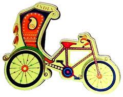Purpledip Wooden Fridge Magnet: Rickshaw (11751)