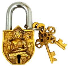 Purpledip Brass Padlock: Gautam Buddha  (11758)