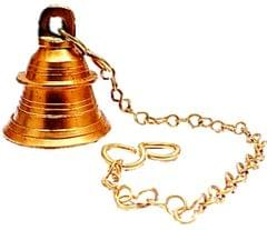Purpledip Brass Hanging Bell: Melodious Ringing Sound Ghanti for Home Temple (11005A)