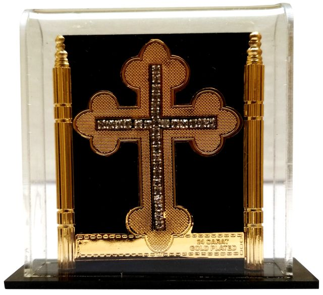 Purpledip Gold Leaf Celtic Cross in Transparent Case: For Home, Altar or Car (11768)