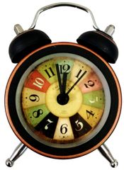 Purpledip Alarm Clock with Ringing Bells: Small Portable Size, Vintage Design Dial (11770A)