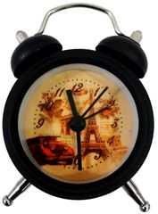 Purpledip Alarm Clock with Ringing Bells: Small Portable Size, Vintage Design Dial (11770B)