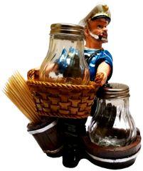 Purpledip Ceramic Salt N Pepper Shaker 'Sea Sailor'; Kitchen Dining Quirky Decor Gift (11771)