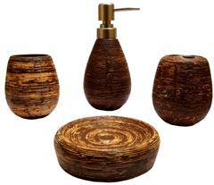 Purpledip Ceramic Bathroom 4-piece Set 'Rustic Charm': Soap Dish, Liquid Dispenser, Glass, Toothbrush Holder (11778)