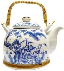 Purpledip Ceramic Fire Kettle 'Master's Voice': 1L Tea Pot with Steel Strainer (11779)